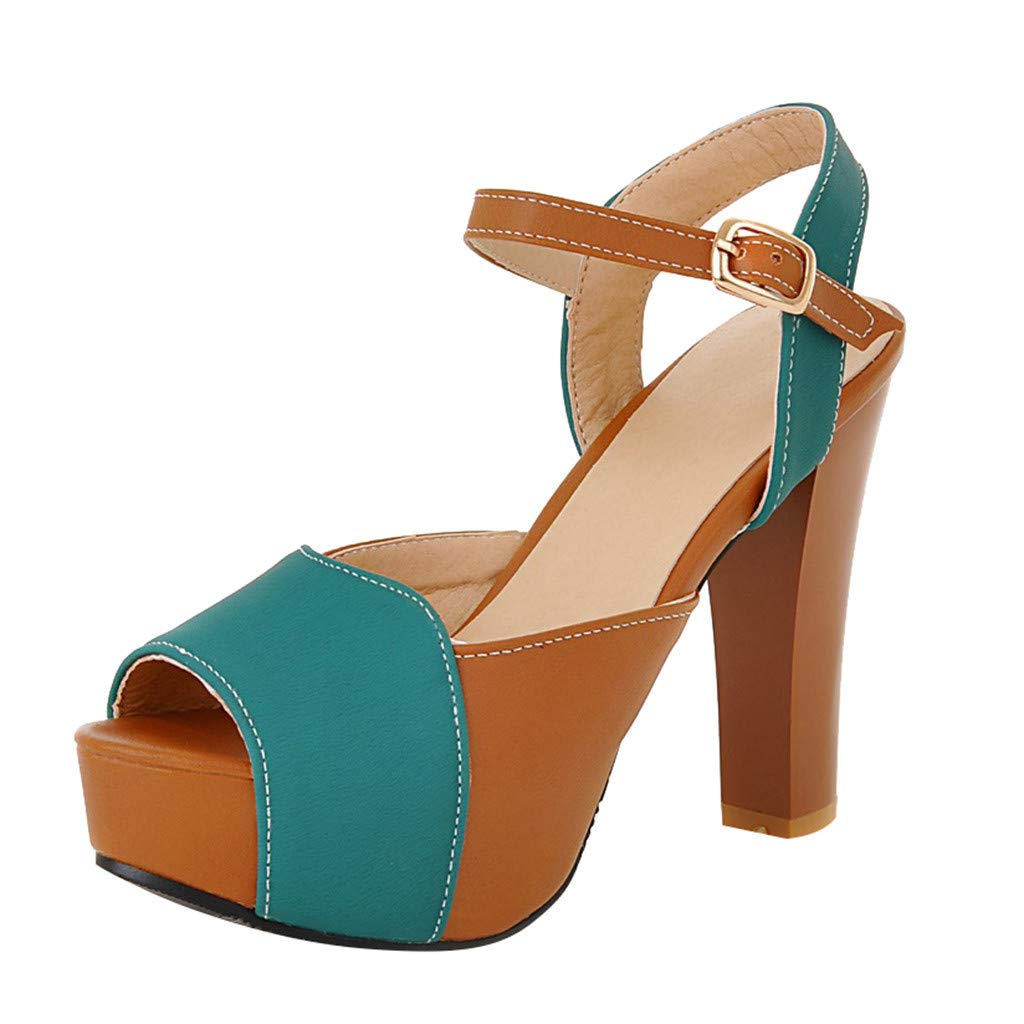 YKARITIANNA Summer Women's Sandals High Heels Thick-Soled Sexy Fish Mouth Ankle Strap Sandal Green