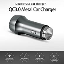 DENUXON 48W Dual Quick Charge 3.0 Smart Detect USB Car Charger for Galaxy S7 / S6 / Edge / Plus, Note 5 / 4 and PowerIQ for iPhone 7 / 6s / Plus, iPad Pro / Air 2 / mini, LG, Nexus and More (Gray)