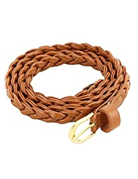 Aivtalk Fashion Women PU Braided Knot Narrow Belt - Brown