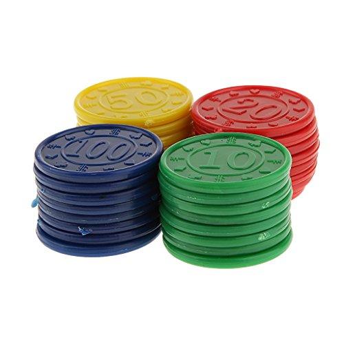 【ノーブランド品】 全4パタン プラスチック製 ポーカーチップ  パーティー おもちゃ 飾り 赤 緑 青 (黒あるいは黄)  - #3