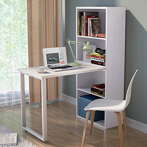 """Tribesigns Modern Stylish Annexe Desk and Storage Unit Combo for Study Bedroom Craft Room Office 61 """"H x"""