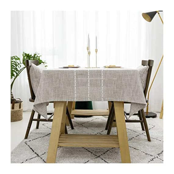 """Home Brilliant Faux Burlap Tablecloth Rectangular Oblong Table Cover for Kitchen Dinning Striped Tabletop Decoration (52 x 72 Inch, Light Linen) - READY MADE: Package contains 1 piece of table cloth: measures width 52"""" x length 72"""" (132cm x 182cm). Due to hand tailor and sewing, 0.5""""-1"""" deviation is allowed. MATERIAL: Home Brilliant table cloths are made of 100% premium polyester but Look just like luxurious linen fabric. This fabric is designed to withstand repeated use and frequent laundering.Please iron after laundering. VERSATILE: Home Brilliant Table Cloth can be used on many places and many occasions: can be used such as kitchen tablecloth, dinning table cloth for daily use, buffet table cover for parties and weddings, outdoor table covers for friends gathering. - tablecloths, kitchen-dining-room-table-linens, kitchen-dining-room - 51Ty 9IYMKL. SS570  -"""