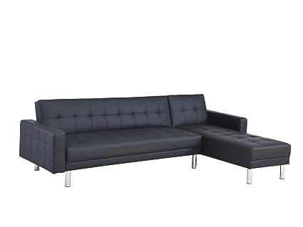 Mobilier Deco Canape D Angle Convertible Design Noir Couchage 2