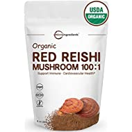 Maximum Strength Organic Reishi Mushroom 100:1 Powder, 8 Ounce (227g), (Active 30% Polysaccharides) Powerful Antioxidant and Immune System Booster. Non-Irradiated, Non-GMO & Vegan Friendly.