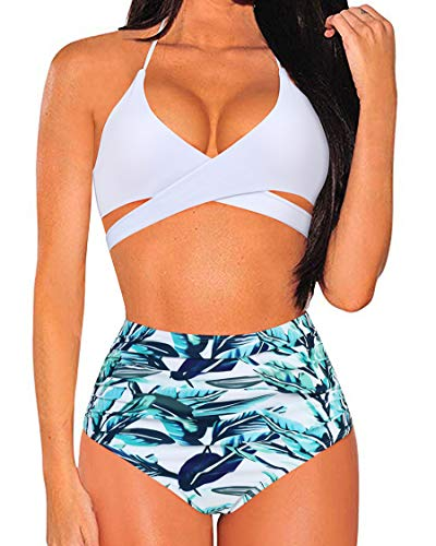 MOSHENGQI Women Front Cross Halter Bikini Set Palm Leaf High Waist Ruched 2 Piece Swimsuits(Medium,White84) (Best Push Up Bikini 2019)
