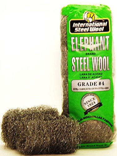 #4 Steel Wool Hand Pads (16 pads/bag), Case of 6 by Elephant Brand