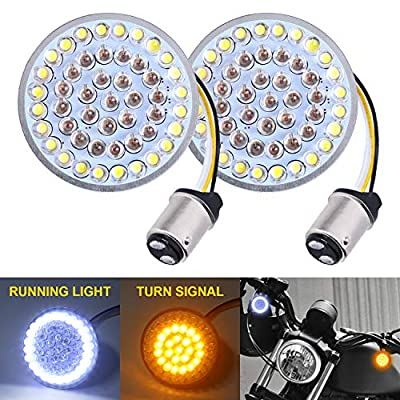 LX-LIGHT Pair 2'' Bullet Style Front LED Turn Signal Lights 1157 LED Running Light Kit for Harley Honda Yamaha Motorcycles: Automotive
