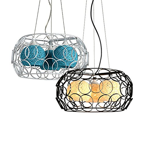 Dome 3 Light Chandelier (Baron W.H Nordic restaurant chandelier 3 modern creative personality simple rattan dome staircase bar industrial wind, yellow, 45x22cm)