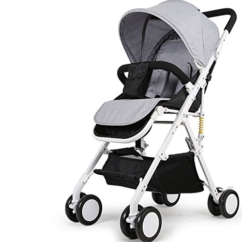 Baby Stroller Can Sit And Lie Down Ultra-light Portable Folding High Landscape Baby Child Trolley Cart Umbrella (Color : Gray)