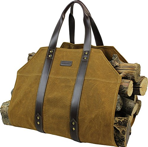 INNO STAGE Canvas Log Carrier Bag,Waxed Durable Wood Tote,Fireplace Stove Accessories,Extra Large Firewood Holder with Handles for Camping-Rust
