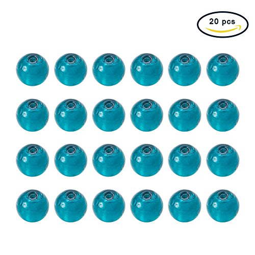 Pandahall 20pcs Teal Handmade Round Lampwork Murano Silver Foil Glass Beads About 10mm in Diameter, Hole: 1.5~2mm