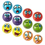"""EMOJI Stress Ball 12 PCS Party Favor Balls (2.5"""") Squeeze Toy to Release Stress (6 Colors)"""