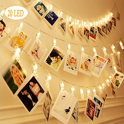 20 LED Photo Clips String Lights ,Bluegogo 3 Modes Fairy Lights for Hanging Decor,Photos,Pictures Cards and Memos,Twinkle Lights for Home Decor Gifts Wedding Decor Wedding Gift (10 Ft, Warm White)