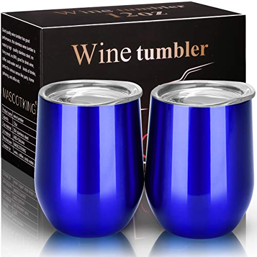 (MASCOTKING Wine Glasses Tumbler - 12 oz 2 Pack - Double Wall Vacuum Insulated Cup with Lids for Keeping Wine, Coffee, Drinks - Beverage Warm in Winter -Perfect Mother's Day Gifts)
