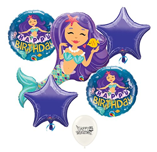 Enchanting Mermaid 6 piece Birthday Balloons Bouquet Bundle
