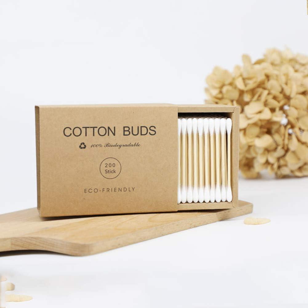 JUHUIZHE - 1000 bastones de algodón de bambú de doble cabeza para ...