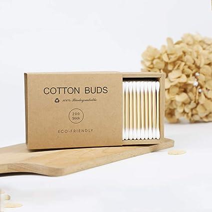 JUHUIZHE - 1000 bastones de algodón de bambú de doble cabeza para limpieza de orejas de nariz, reciclables y biodegradables: Amazon.es: Belleza
