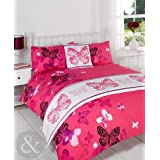 Butterfly 5pc Bed in a Bag Set - Girls Bedding Quilt Cover Complete Sets Pink ( black lilac purple fuchsia ) Double Size Duvet Cover ( girls kids