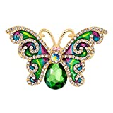Ever Cute Green Crystal Art Butterfly Brooch Women Rhinestone Enamel Insect Corsage
