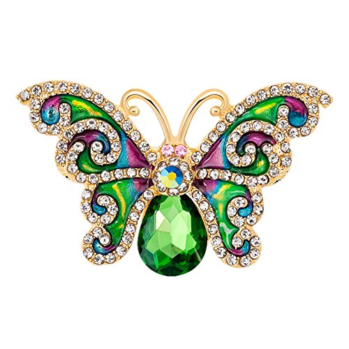 Ever Cute Green Crystal Butterfly Brooch Rhinestone Enamel Jewelry Pins
