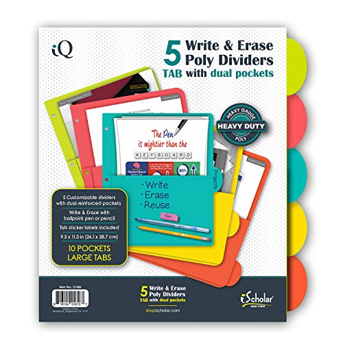 - iScholar 5 Tab Poly Index Dividers with Pockets, 9.5 x 11.3