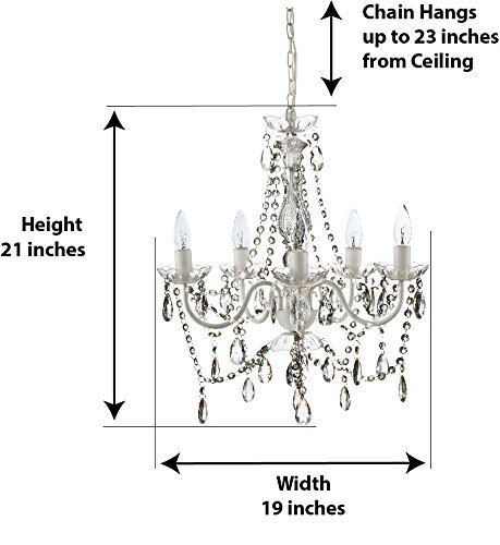 The Original Gypsy Color 5 Light Medium Crystal Chandelier H21'' W19'', White Metal Frame with Clear Acrylic Crystals (Better Than Glass) by Gypsy Color (Image #2)