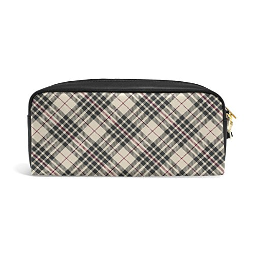 MMStyle PU Leather Pen Pencil Cosmetic Case Blackberry Tartan Plaid Fashion Style Makeup Travel School Bag Pouch
