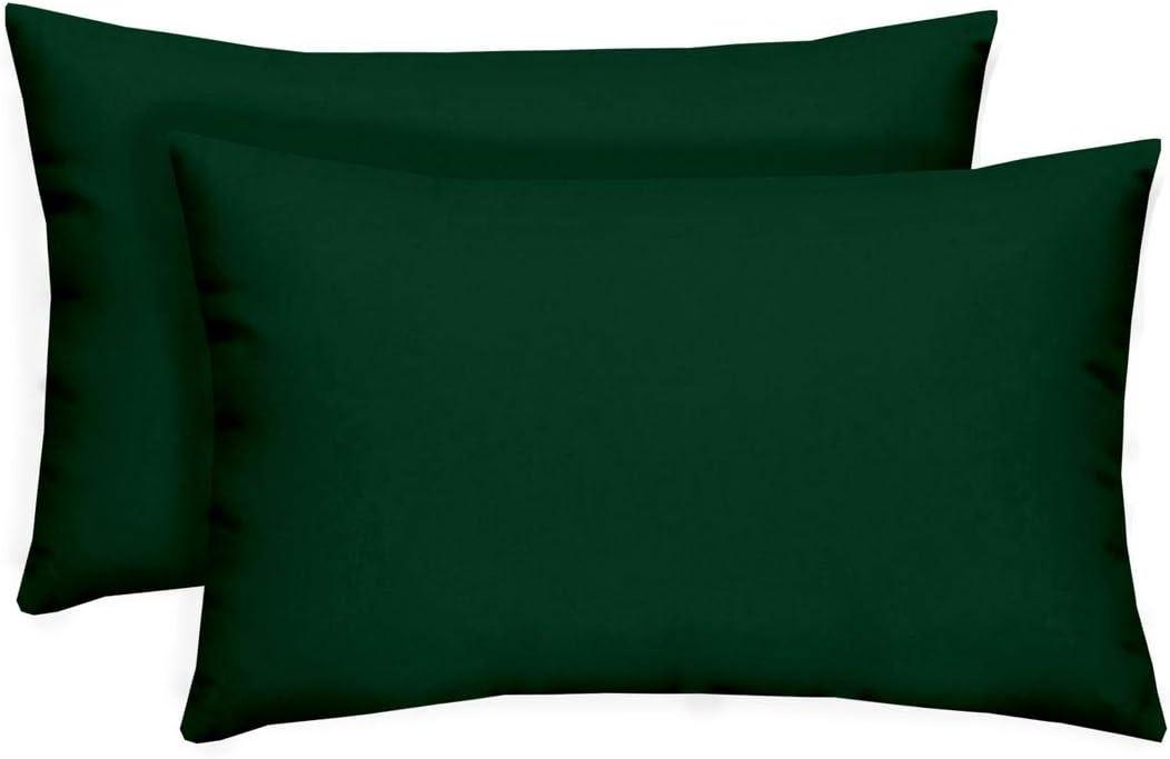 RSH D cor Set of 2 – Indoor Outdoor Solid Hunter Green Decorative Rectangle Lumbar Throw Toss Pillow – Choose Size and Choose Color