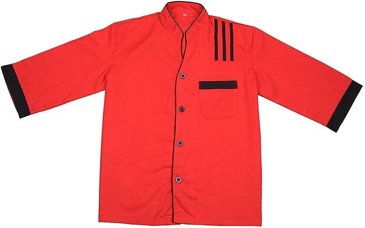aihometm coreano estilo camisa de la chaqueta de chef camarera camarero uniforme Mono soporte collar con longitud de la tres cuartos mangas para coreano barbacoa restaurante (rojo, azul), Algodón/poliéster, Rojo, medium: Amazon.es: