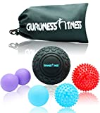 Massage Ball Set for Deep Tissue Recovery, Trigger Point Therapy, Myofascial Release, Muscle Knots, Mobility MOD, Plantar Fasciitis- 5'' Foam Roller Ball, Peanut Double Ball, Spiky Balls, Lacrosse Ball