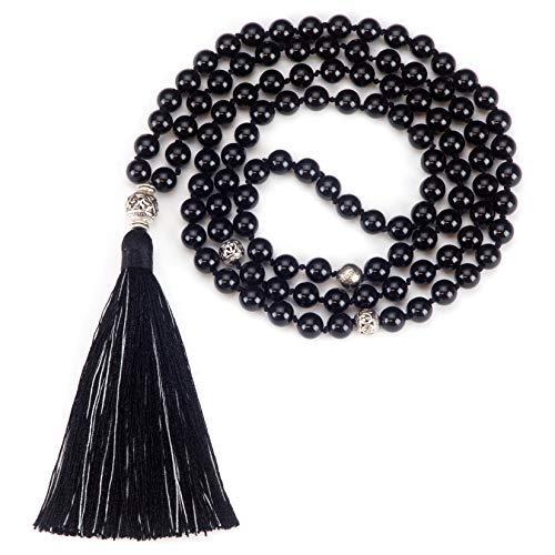 Cherry Tree Collection Mala Necklace | 108 Hand-Knotted 8mm Gemstone Round Beads, Antiqued Guru and Counter Beads, and Tassel | Meditation, Buddhist Prayer, Healing (Black Tourmaline) [並行輸入品]   B07RLR73L4