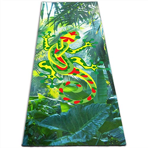 Zhangyi Rasta Gecko Raggae Yoga Mat Classic Print Non Slip Exercise & Fitness Mat for All Types of Yoga, Pilates & Floor Exercises 24 X 72 Inches (Mat Gecko Yoga Active Bag)
