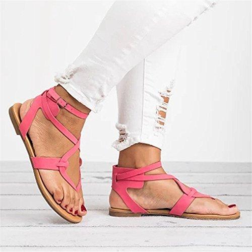 Cierres Sandalias Sandalias Dedo Romanas Casual Damas Flops Planos de Pink Flip Verano de Chanclas Antideslizante Damas Zapatos Cruzado Zapatos 4RxHOHnY
