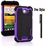 Anti-shock and Bump Dual Layer Case for AT&T HTC ONE X , HTC ONE X + LTE ONLY - Soft and Hard Case Cover Skin + Stylus Pen (Anti-Shock&Bump - Black/Purple/Black)