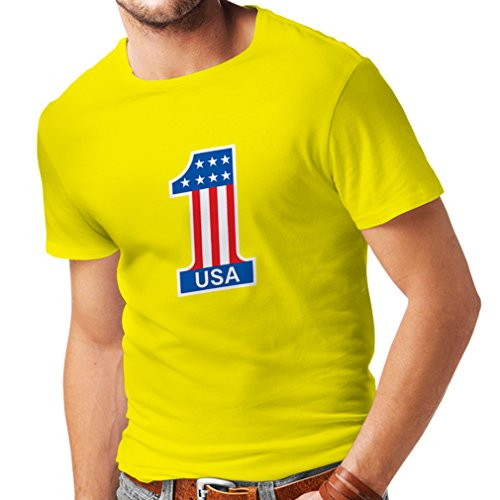 lepni.me T Shirts For Men United States Of America - USA American Flag Patriotic Clothing (Large Yellow Multi - Outlet Shops Tanger