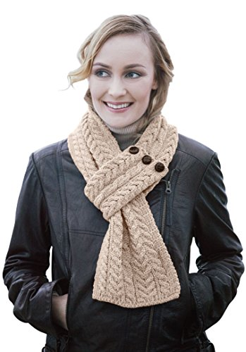 Ladies Wool Button Loop Irish Scarf (Wicker)