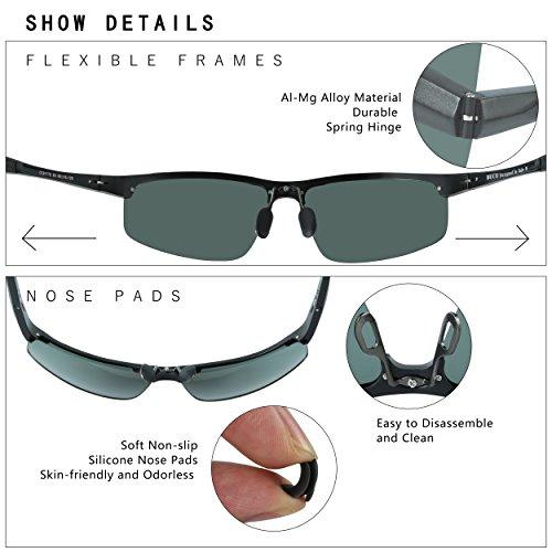 marco UV400 y 100 Duco Classic de polarizadas metal Gunmetal deportivas 8177S ultraligero Gafas con para sol de hombre irrompible 1Z1qvzH