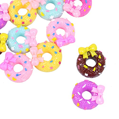 Monrocco 40Pcs Mixed Color Donut Cake with Bow Slime Charms Resin Flatback for Craft Making,DIY Scrapbooking Accessories ()