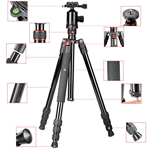 neewer 64 inches 163 centimeters aluminum alloy camera tripod monopod with 360 degree ball head. Black Bedroom Furniture Sets. Home Design Ideas