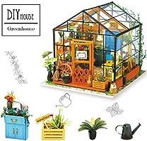 ROBOTIME Dollhouse Kit Rénovation de meubles Woodcraft Kit de Construction Mini Maison de Bricolage à la main Avec Lumières et Accessoires Miniature Home Decor Décor de Noël