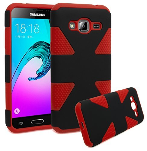 Samsung Galaxy J3,Galaxy amp Prime Case, Bastex Dynamic Slim Fit Heavy Duty Protection Hybrid Dual Layer Hard Plastic Case Rubber Silicone Cover - Black + Red