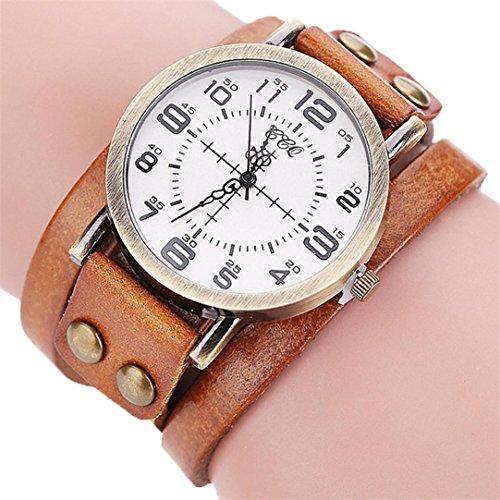 Fashion Leisure Cow Leather (AMA(TM) Men Women Vintage Cow Leather Wristwatch Dress Quartz Bracelet Watch Gifts (Coffee))