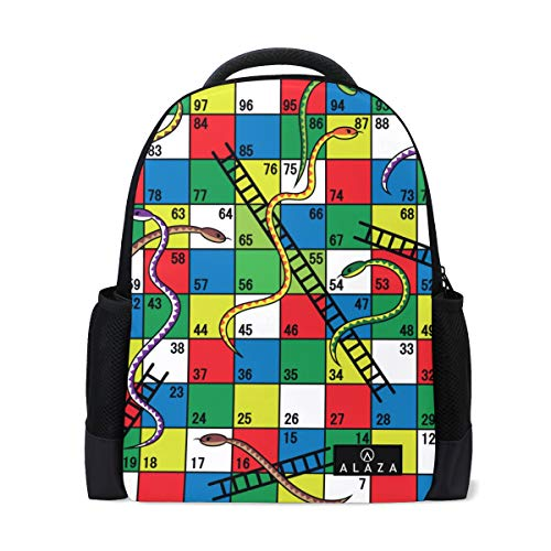 Snake Ladder Game Backpack 14 Inch Laptop Daypack Bookbag for Travel College School
