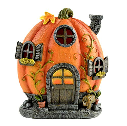 (Halloween Fairy Garden Miniature - LED Pumpkin House - Dollhouse)