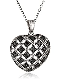 "Sterling Silver Black Diamond Heart Pendant Necklace (.50 cttw), 18"""