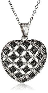 Sterling Silver Black Diamond Heart Pendant Necklace (.50 cttw), 18
