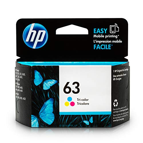 - HP 63 Tri-color Ink Cartridge (F6U61AN) for HP Deskjet 1112 2130 2132 3630 3632 3633 3634 3636 3637 HP ENVY 4512 4513 4520 4523 4524 HP Officejet 3830 3831 3833 4650 4652 4654 4655