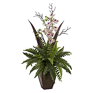 Nearly Natural Fern and Orchid Silk Plant 106