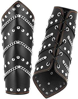 HZMAN Faux Leather Metal Link Gauntlet Wristband Wide Bracer Arm Armor Cuff//Leg Guards Leggings Calf Armor