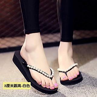 Shukun Chancletas del dedo del pie Zapatillas de tacón Alto Mujer Verano Moda al Aire Libre de la cuña con Fondo Grueso Antideslizante Playa al Aire Libre pellizco Zapatos de Playa Chanclas